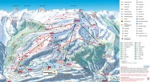 Overzicht skiliften pistes Flumserberg